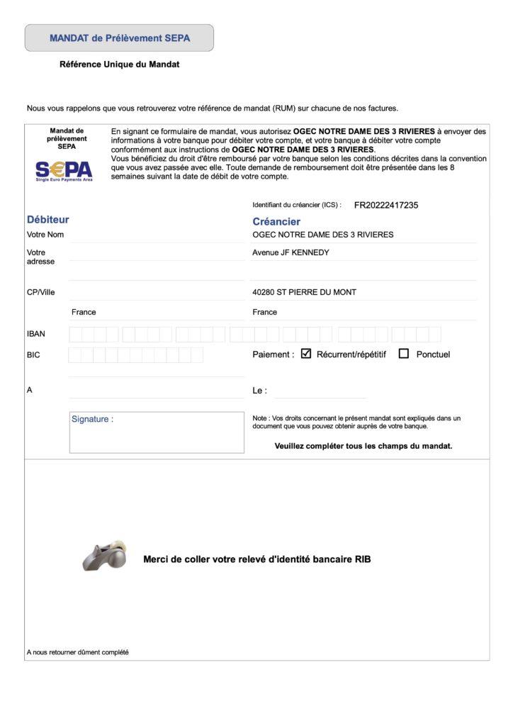 Mandat de prélèvement SEPA