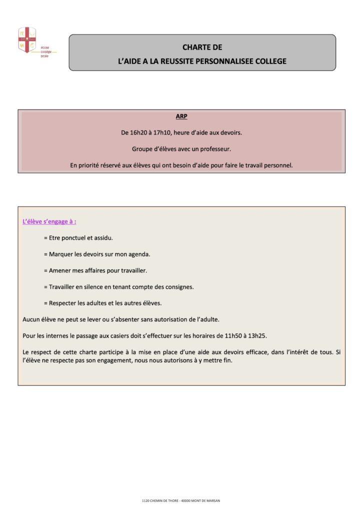 Charte de l'aide à la réussite personnalisée